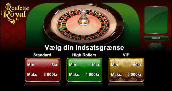 Hos Lanadas Casino kan spillerne vælge indsatsgrænse på Roulette Royal